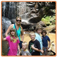 Chansen and family at waterfall